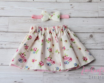 Girl's Floral Skirt, Girl's Skirt Set, Cream Skirt, Pink Skirt, Floral Skirt, Baby Skirt, Toddler Skirt, Baby Girl Skirt Set, Pink Skirt