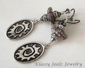 SOLD Sterling Silver Tribal Charm and Lampwork Beaded Earrings-Artisan Earrings-Artisan Lampwork-Organic-Tribal-Bohemian Vibe Earrings-SRAJD