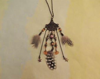 Long necklace Coachella - brown