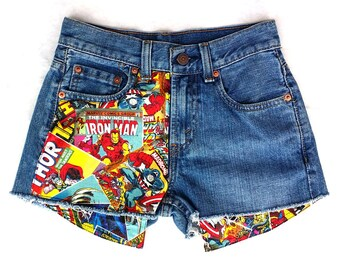 SALE! Levis Vintage Cut off Jean Shorts, Super Hero Patched Jean Shorts, Marvel Patched Jean Shorts,