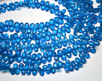 20% Off AAA-Rarest Natural Neon Apatite 10 Beads-7-8mm-Natural Neon Apatite Faceted Pear Shape Briolette Beads