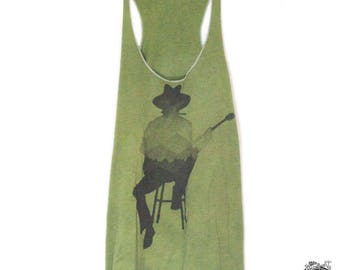 Musician Guitar Player with Mountains, Women's tank in Olive Green, Hand Dyed