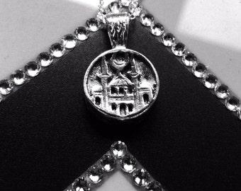 Fine silver hefty sterling silver Holy city moon Hajj Eid Umrah Muslimah necklace