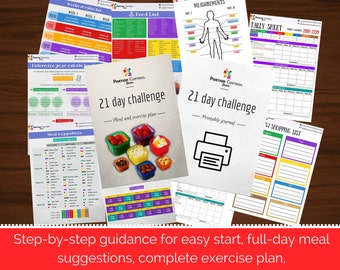 COMPLETE 21-day meal and exercise plan for maximum results, compatible w/ BEACHBODY 21-day fix / 21 day fix extreme. With printable journal.