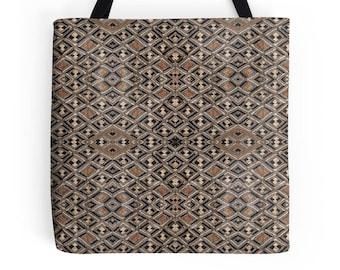 African Art Design - Tote Bag / Exclusive Kuba Cloth Variation #2 / Poly Poplin Fabric