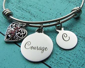cancer jewelry, breast cancer survivor gift, cancer awareness bracelet, cancer support, cancer gift, jewelry for a cause, encouragement gift