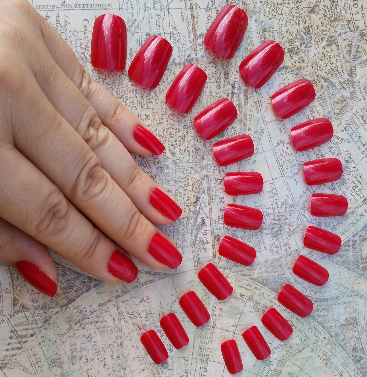 24 Short Red Nails Press on Nails Glue on Nails Blood
