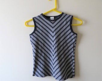 90s Striped Cropped Tank, Navy and White Sleeveless Shir,t Crop Top, U2 Label, Women's XS Small