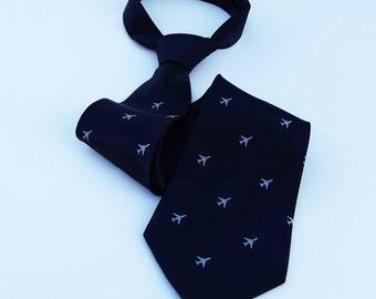 Silkscreened Tie - Jumbo Jet Tie - Premium Quality Microfiber Tie - Gift Wrapped - Choose color and quantity