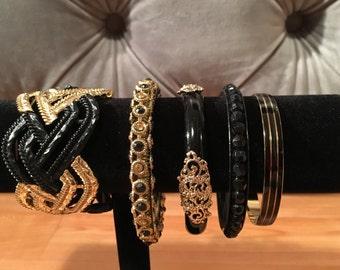 Lot of 5 black & gold bracelets
