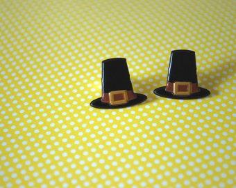 Pilgrim Hat Earrings -- Pilgrim Hat Studs, Thanksgiving Earrings, Pilgrim Hats