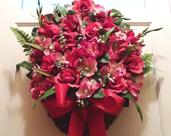 FREE SHIPPING! Grapevine Hanging Basket Artificial Floral Arrangement Red Pink Silk Roses Gladiolus Magnolias Satin Bow X-LARGE