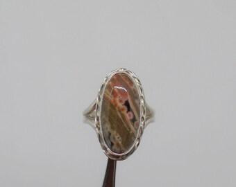 Ocean Jasper Ring, Sterling Silver Ocean Jasper Ring, Ladies Jasper Ring, Jasper Jewelry, Size 8, Under 75, Gift for Her, Silver Jasper,1618