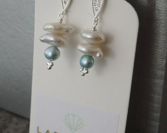 White Freshwater Pearl Earrings, White Pearls, Pearl Earrings, Pearl Drops, Earring Drops, Silver Drops