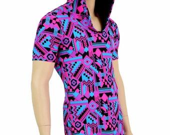 Mens UV Glow Pink & Black Aztec Print Tee Length Sleeve Hoodie Romper w/Black Zen Hood Liner Party Animal Festival Rave Bromper - 154694