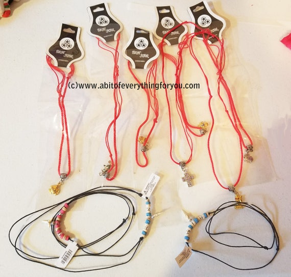 10 piece girls childrens jewely lot pendants tooth charm cord necklaces
