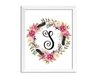 Monogram Art, Nursery Letter Print, Girl room decor, Watercolor Antler Deer Floral Tribal decor, monogram nursery print, monogram print