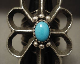 Very Rare Old Sleeping Beauty Huge Tufa Navajo Silver Ring