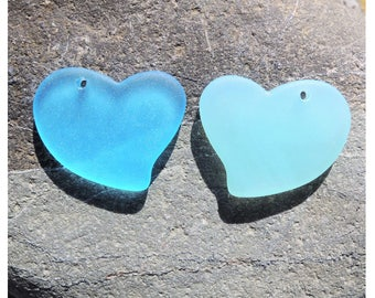 1 pendentif coeur plat verre recyclé, 30x30 mm, cultured sea glass