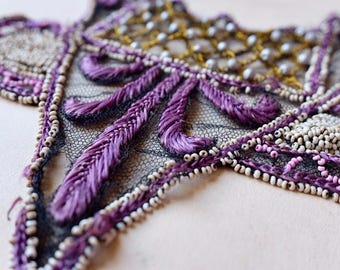 1800 French antique purple fleur de lys, yellow silk, black silk tulle pearl, beaded collar dress embellishment, costume design