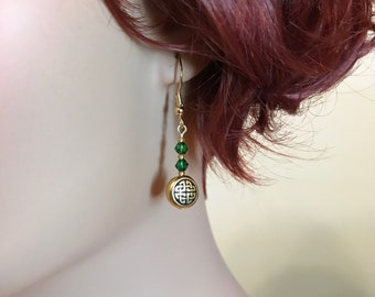 Celtic Knot Earrings: Emerald Green Swarovski Crystals