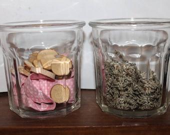 Vintage faceted glass jam jar