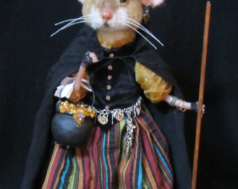 Needle Felted Mouse,OOAK Mixed Media Mouse/Handmade Art Doll/Witch/Halllowee