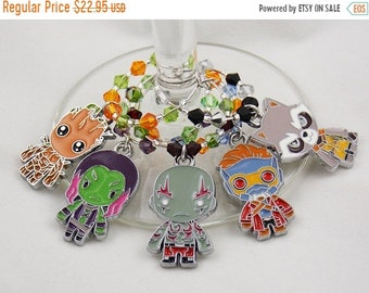 Guardians of the Galaxy inspired wine glass charms set of 5 Marvel charms handmade wine charms party Disney wine charm