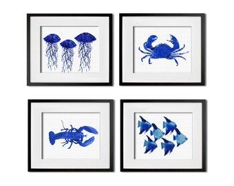 Set of 4 Sea Animal Prints Watercolor Wall Art 8x10 or 11x14