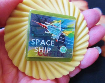 OOAK Space Ship/Copter Vehicular Lenticular Pin