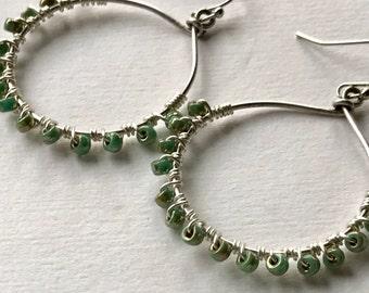 Turquoise Hoop Earrings, Silver Hoop Earrings, Beaded Hoop Earrings, Turquoise Hoop Earrings