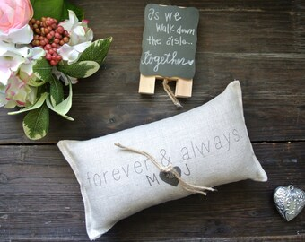 Personalized Ring Bearer Pillow, Personalized Wedding Ring Pillow, Custom Ring Bearer Pillow, Rustic Wedding Ring Pillow, Ring Pillow