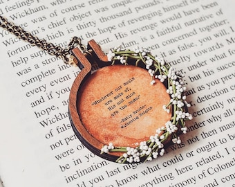 Polymer Clay, Flower Wreath Quote Pendant, Gift for Bookworm, Gift for Book Lovers, Personalized Quote Bookish gifts, Bookish Jewelry