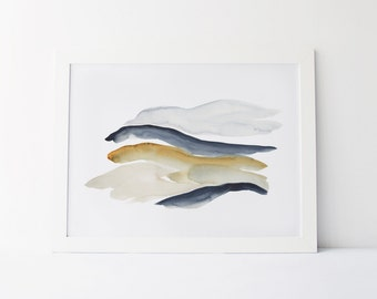 Watercolor Painting, Modern Watercolor Fine Art Giclée Print, Abstract Landscape, Indigo and Gold