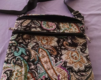 Quilted black paisley over the shoulder bag