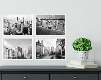 Chicago Photography Print Set City Wall Art Black And White Downtown Urban Architecture Buildings Photo Set Chicago City Prints Square