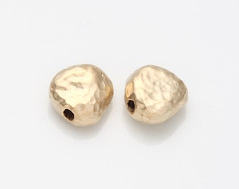 Hammered Brass Beads,jewelry Supplies, jewelry Making, Matte Gold-Plated - 2 Pieces [B0060-MG]