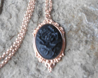Black Rose Cameo Rose Gold Tone Copper Pendant Necklace - Unique - Formal