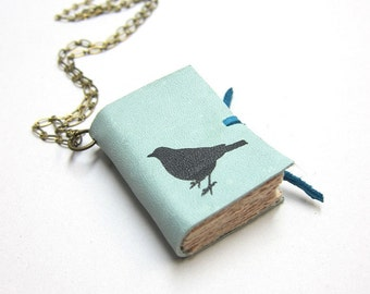 Light Blue Leather Book Necklace