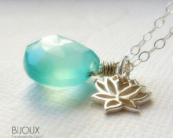 Lotus Flower and Aqua Blue Chalcedony Silver Necklace