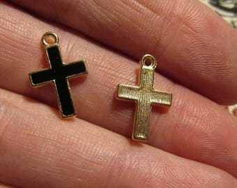 set of 2 golden charms and black 16mmx11mm