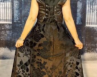 Black Velvet Rose WhmZ * Floral * Fairy * Faerie * Goth * Sequin * One of a Kind * Hood * Sheer