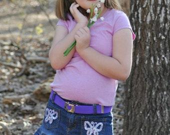 Girls Belts- heart buckle- Toddler belts- Childrens belts- Custom buckle