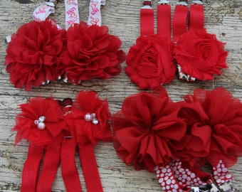 THIGH HIGH sock GARTERS - crocodile clips - onto shorts or knickers - pretty shabby flowers - roses are red-  Gothic sock suspenders