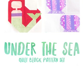 Set of 2 Quilt Block Patterns Mermaid and Seashells Instructions for 6 inch and 12 inch blocks 15% Savings