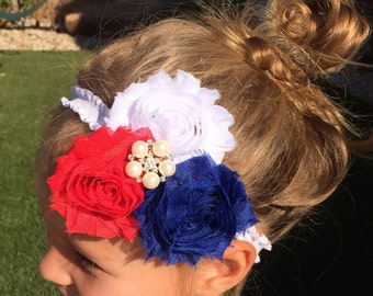 4th of July Headband, Red White Blue Baby, 4th of July Baby Shoes, 4th of July Baby Outfit, 4th of July Toddler