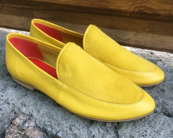 Yellow loafers women, flats women,leather shoes women, slip ons, suede loafers, moccasins, summer shoes, comfortable slip on shoes