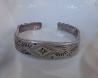 Vintage Sterling Silver Cuff Bracelet, Pure Silver 99%,  Men's Silver Bracelet, Jewelry, Women's Bracelet, Mid Century Modern, Shabby Chic