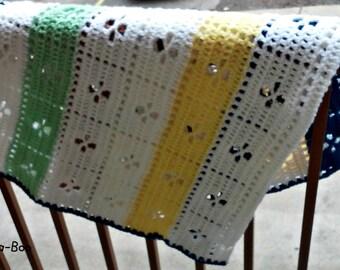 Unisex Crochet Blanket, Unisex Throw Blanket, Mini Blanket, Unique Child Blanket, Heirloom Quality, Pram Blanket, Stripe Baby Blanket