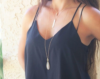 Long Necklace Moonstone Long Pendant Necklace/ Long Layering Necklace Gemstone Statement Necklace Teardrop Gold Necklace Long Stone Necklace